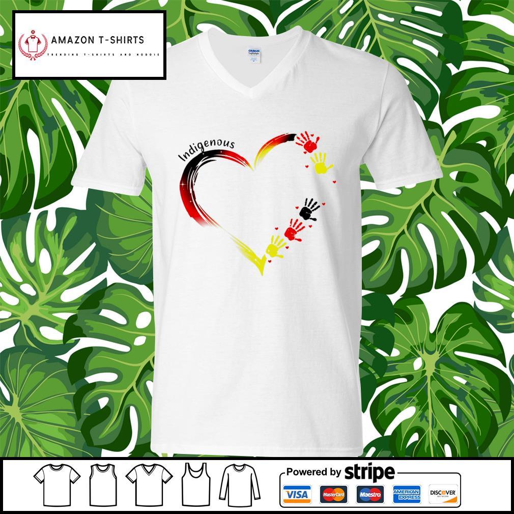 Heart indigenous hand s v-neck-t-shirt