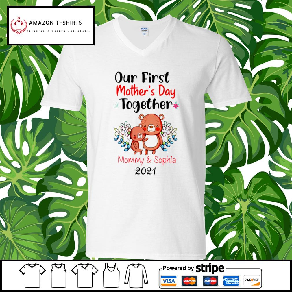 Our first mother's day together mommy and sophia 2021 s v-neck-t-shirt