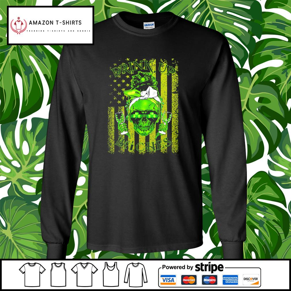 St.Patrick's Day Skull drink up Bitches American Flag s longsleeve-tee