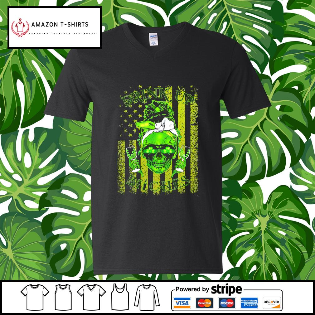 St.Patrick's Day Skull drink up Bitches American Flag s v-neck-t-shirt