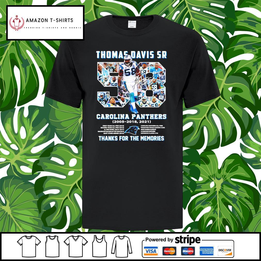 Thomas Davis Sr Carolina Panthers thank you for the memories shirt