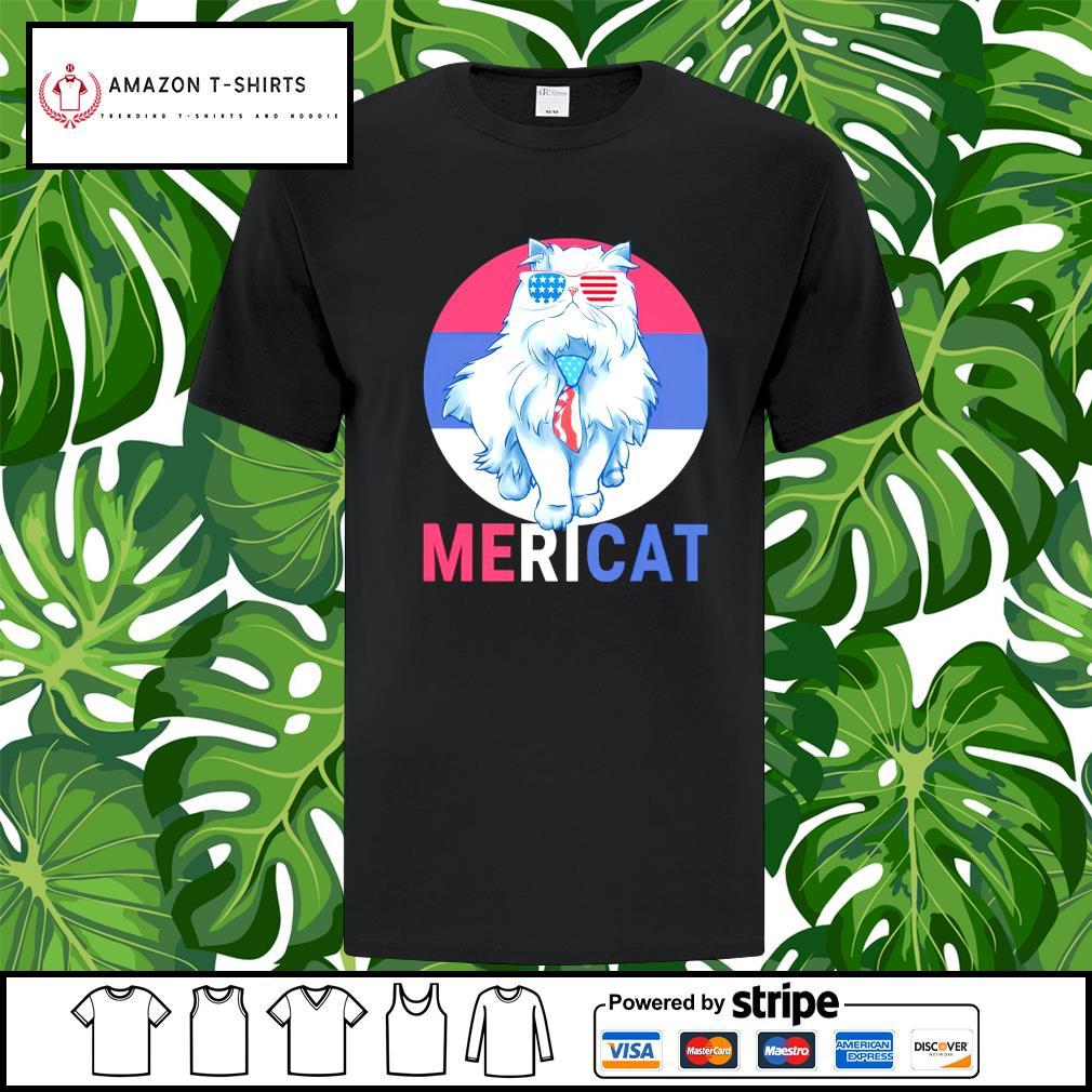 Cat US Flag Sunglasses shirt
