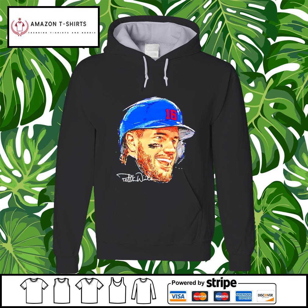 Chicago Baseball 16 Patrick Wisdom Portrait signature hoodie