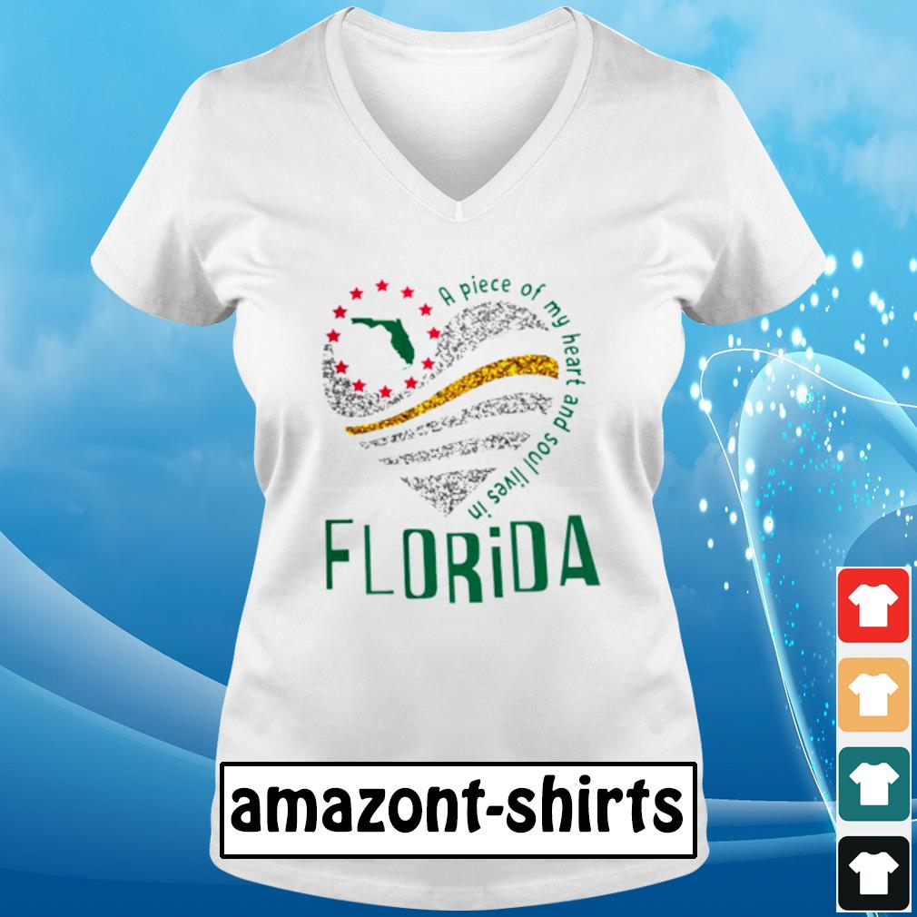 A piece of my heart and soul lives in florida s v-neck-t-shirt
