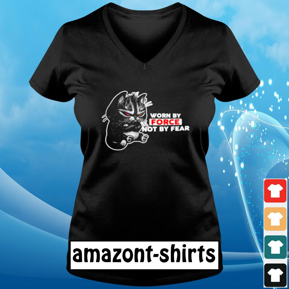 Cat worn by force not by fear s v-neck-t-shirt