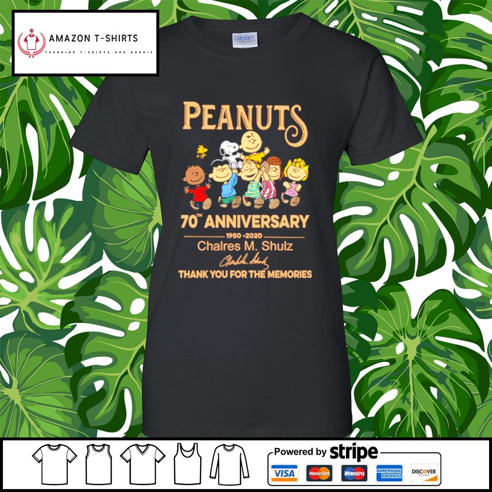 Peanuts Snoopy 70th anniversary 1950 2020 thank you for the memories s ladies-tee
