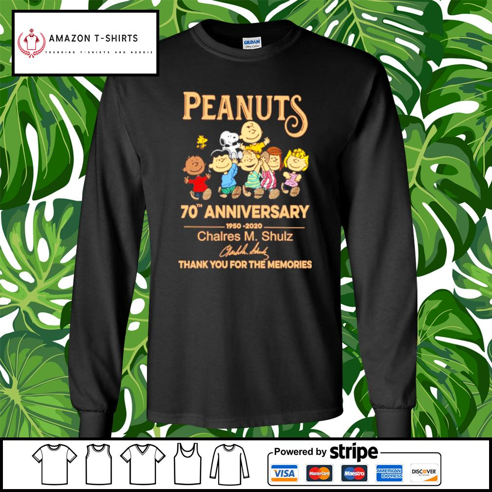 Peanuts Snoopy 70th anniversary 1950 2020 thank you for the memories s longsleeve-tee