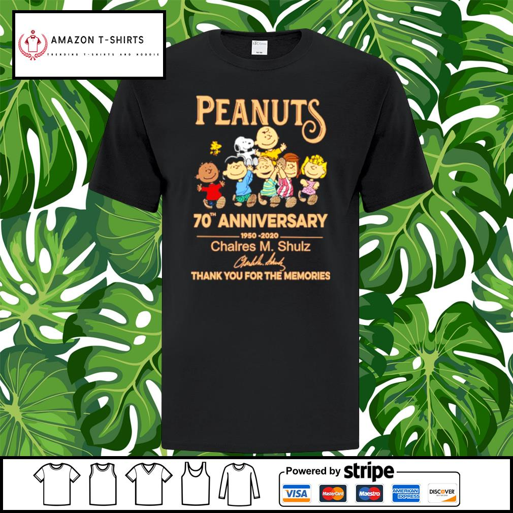 Peanuts Snoopy 70th anniversary 1950 2020 thank you for the memories shirt