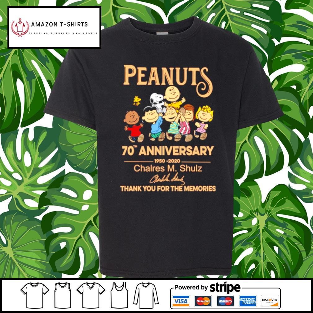 Peanuts Snoopy 70th anniversary 1950 2020 thank you for the memories s youth-tee